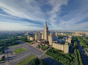 Веб камера на здании МГУ с видом на Москву