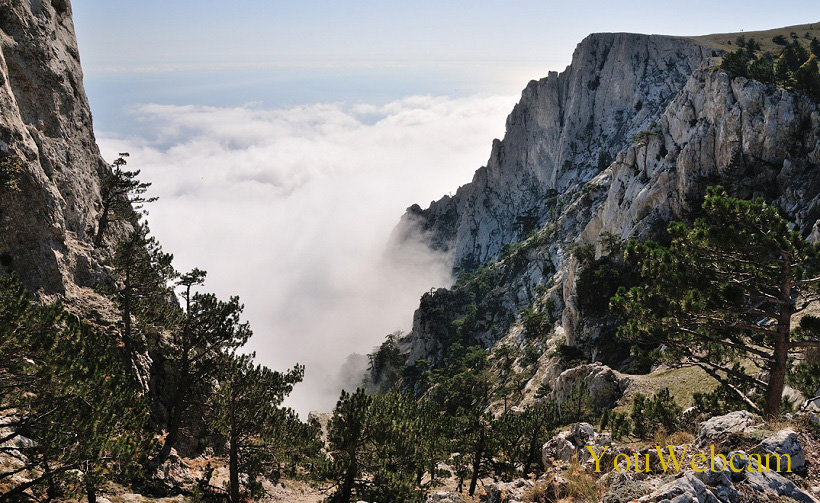 Вид облаков с горы. Ялта Ай-Петри, отдых в Крыму.