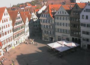 Рыночная площадь в городе Тюбинген в Германии