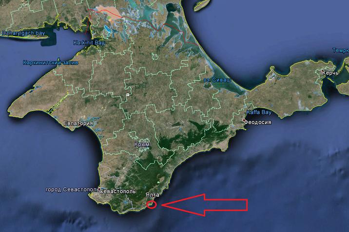 Ласточкино гнездо в Крыму на карте Крыма
