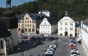 Главная площадь в городе Наход в Чехии
