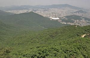 Панорама города Пусан в Южной Кореи