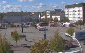 Главная площадь города Пиексямяки в Финляндии