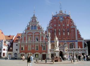 Ратушная площадь в Риге в Латвии
