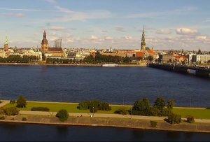 Панорама Риги в Латвии
