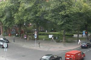 Перекресток в центре города Слупск в Польше