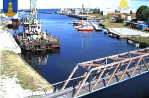 Пристань в городке Мерсрагс в Латвии