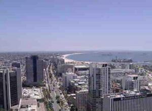Панорама Лонг-Бич в округе Лос-Анджелес в Калифорнии