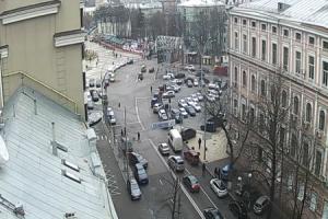 Улица Житомирская и улица Михайловская в Киеве на Украине