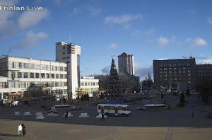 Веб камера показывает Привокзальную Площадь в Харькове на Украине