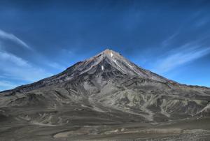 Вид на вулкан Авачинская сопка с Авачинского перевала на Камчатке