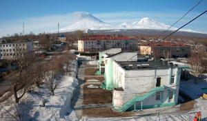 Ключевской вулкан из поселка Ключи