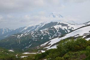 Веб камера показывает вулканы Горелый, Мутновский и Вилючинский на Камчатке с города Петропавловск-Камчатский