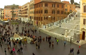 Площадь Испании и Испанская лестница в Риме в Италии