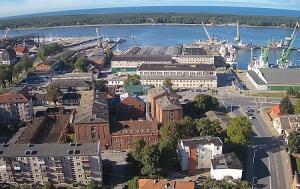 Морской порт в городе Клайпеда в Литве