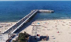Пляж и мол в городе Колобжег в Польше
