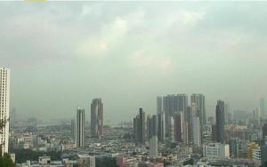 Веб камера показывает район Коулун в Гонконге