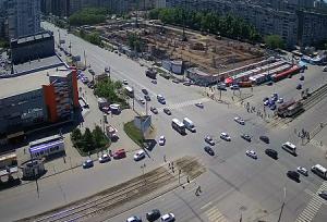 Перекресток улицы Чичерина и проспекта Победы в Челябинске