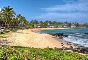 Пляж отеля Sheraton Kauai Resort на острове Кауаи