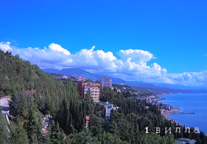 Большой сад отеля Море в Алуште в Крыму