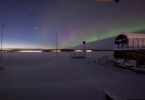Северное сияние в Порьюс в Швеции