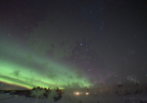Северное сияние в Порьюс в Швеции, вид на север