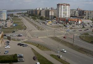 Перекресток улиц Ленина и Труда в Магнитогорске