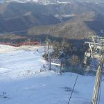 Вершина горнолыжного курорта Ёнпхён в Пхёнчхане в Южной Кореи
