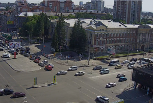 Перекресток Красного проспекта и улицы Гоголя в Новосибирске