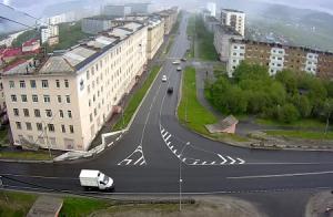 Перекрёсток улиц Кирова и Душенова в Североморске