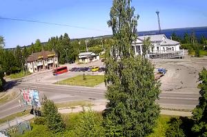 Пересечение Октябрьского шоссе с улицей Пролетарская в Кондопоге