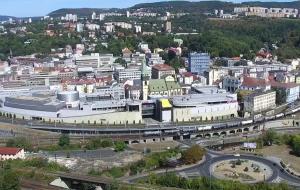 Город Усти-над-Лабем в Чехии с замка Ветруше