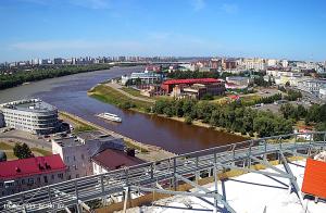 Место слияния рек Иртыш и Омь в Омске