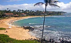 Пляж Киахуна из отеля Sheraton Kauai Resort на острове Кауаи