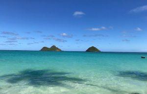 Вид с пляжа Ланикай на Оаху
